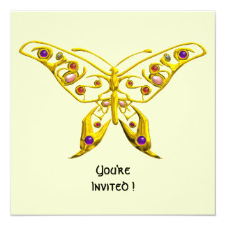 HYPER BUTTERFLY ,white 5.25x5.25 Square Paper Invitation Card