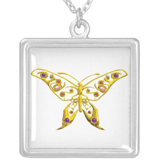 HYPER BUTTERFLY , White Silver Plated Necklace