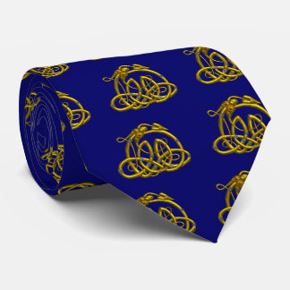 HYPER DRAGON ,Gold Celtic Knots ,Bright Blue Neck Tie