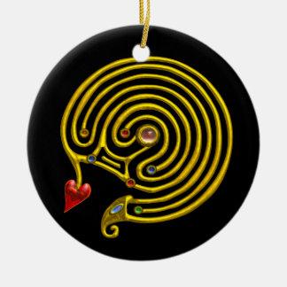 HYPER LABYRINTH black and white Ceramic Ornament