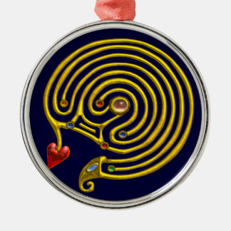 HYPER LABYRINTH blue Metal Ornament