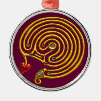 HYPER LABYRINTH purple Metal Ornament