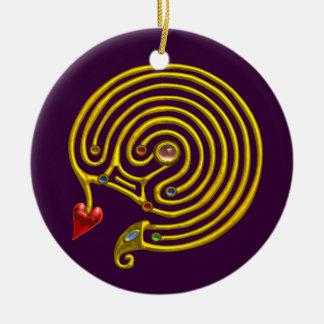 HYPER LABYRINTH white and purple Ceramic Ornament