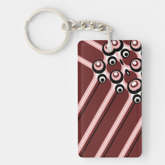 Hyper modern abstract design maroon keychain