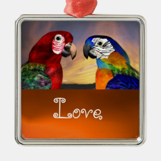 HYPER PARROTS / BLUE AND RED ARA  Agate Love Metal Ornament