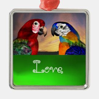 HYPER PARROTS / BLUE AND RED ARA  Emerald Love Metal Ornament