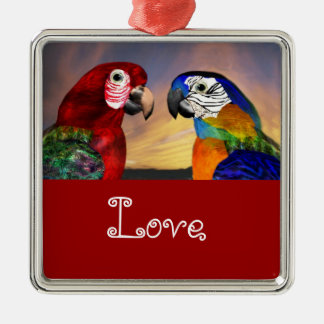 HYPER PARROTS / BLUE AND RED ARA Love Metal Ornament