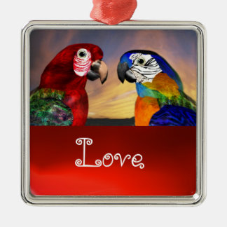 HYPER PARROTS / BLUE AND RED ARA  Ruby Love Metal Ornament