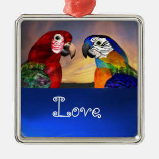 HYPER PARROTS / BLUE AND RED ARA  Sapphire Love Metal Ornament