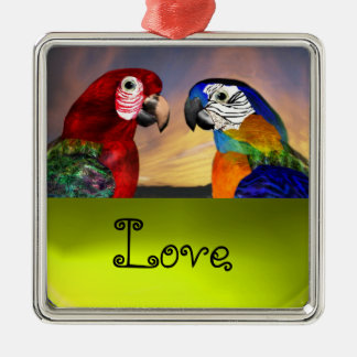 HYPER PARROTS / BLUE AND RED ARA  Topaz Love Metal Ornament
