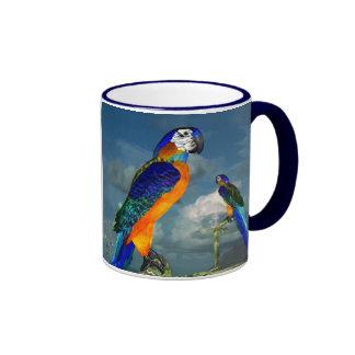 HYPER PARROTS / BLUE ARA RINGER COFFEE MUG