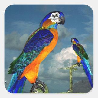 HYPER PARROTS / BLUE ARA SQUARE STICKER