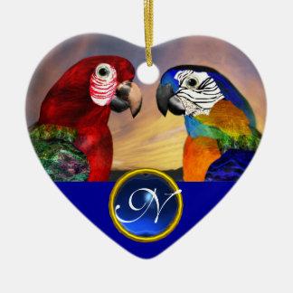 HYPER PARROTS BLUE SAPPHIRE GEM MONOGRAM Love Ceramic Ornament