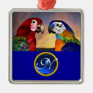 HYPER PARROTS BLUE SAPPHIRE GEM MONOGRAM Love Metal Ornament
