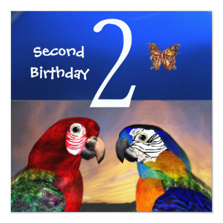 HYPER PARROTS / First Birthday Party Invitation
