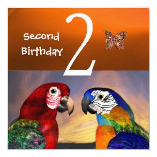 HYPER PARROTS / First Birthday Party, Orange Invitation