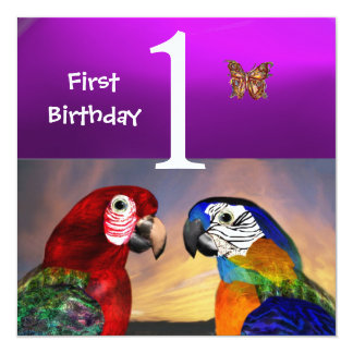 HYPER PARROTS /First Birthday Party Purple Invitation