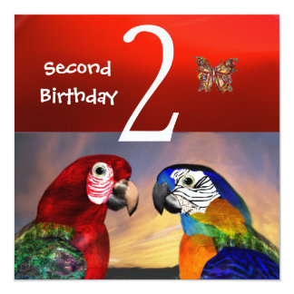 HYPER PARROTS / First Birthday Party, Red Invitation