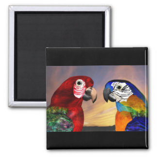 HYPER PARROTS /RED AND BLUE ARA 2 INCH SQUARE MAGNET