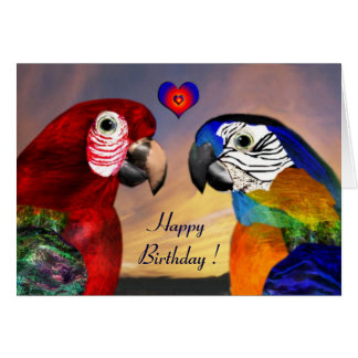 HYPER PARROTS / RED AND BLUE ARA Happy Birthday Greeting Cards