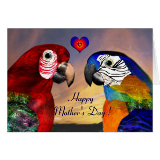 HYPER PARROTS / RED AND BLUE ARA Mother's Day Card