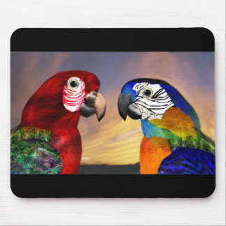 HYPER PARROTS /RED AND BLUE ARA MOUSE PAD
