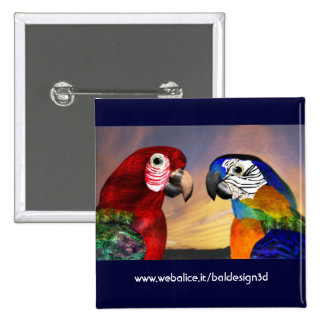 HYPER PARROTS / RED AND BLUE ARA PINBACK BUTTON
