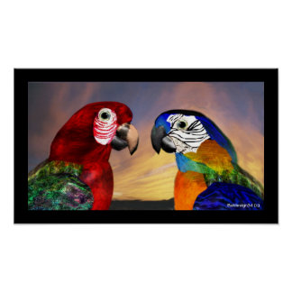 HYPER PARROTS / RED AND BLUE ARA POSTERS