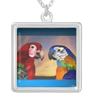 HYPER PARROTS / RED AND BLUE ARA SILVER PLATED NECKLACE