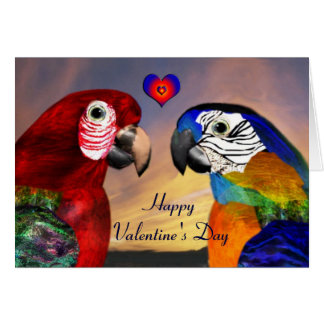 HYPER PARROTS / RED AND BLUE ARA Valentine's Day Card