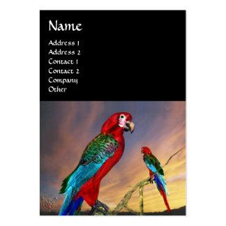 HYPER PARROTS / RED ARA ,black Large Business Cards (Pack Of 100)