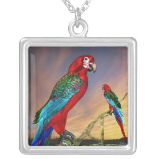 HYPER PARROTS /  RED ARA SILVER PLATED NECKLACE