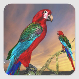 HYPER PARROTS / RED ARA SQUARE STICKER