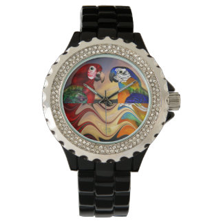 HYPER PARROTS RED,BLUE ARA ,COLORFUL REFLECTIONS WRIST WATCH