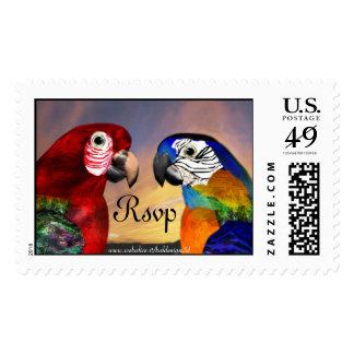 HYPER PARROTS Rsvp Postage Stamp