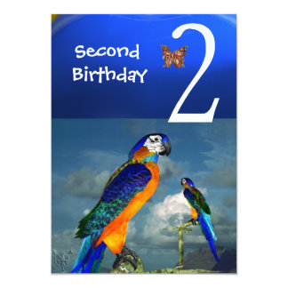 HYPER PARROTS / Second Birthday Party 5x7 Paper Invitation Card