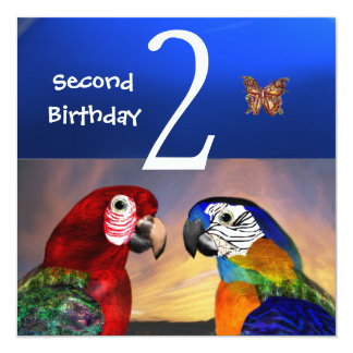 HYPER PARROTS / Second Birthday Party Card