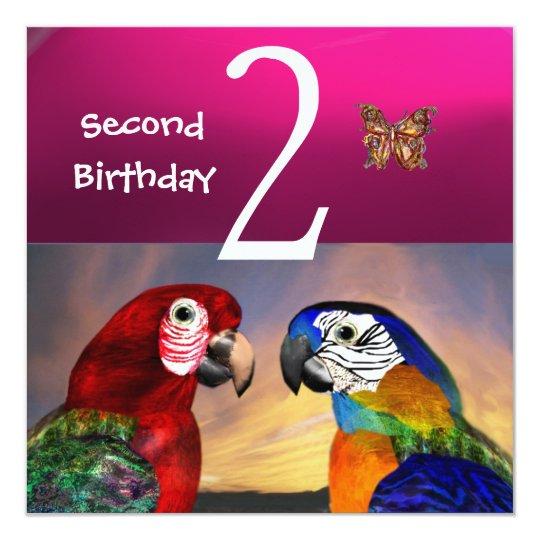HYPER PARROTS / Second Birthday Party, Fuchsia Card
