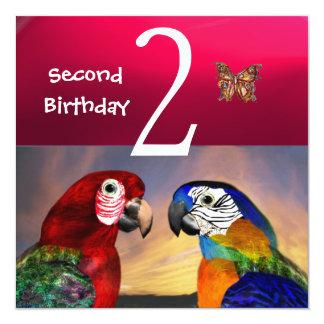HYPER PARROTS / Second Birthday Party, Fuchsia Invitation