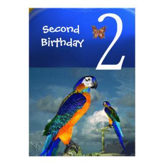 HYPER PARROTS / Second Birthday Party Custom Invites