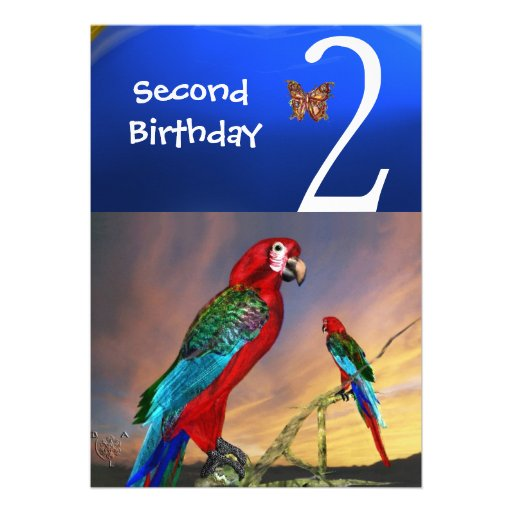 HYPER PARROTS / Second Birthday Party Personalized Announcements