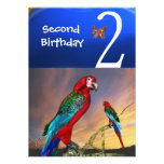 HYPER PARROTS / Second Birthday Party Personalized Invitation