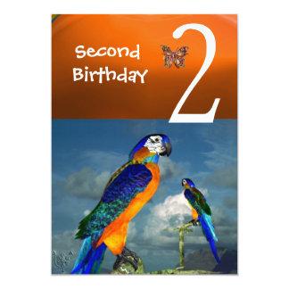 HYPER PARROTS / Second Birthday Party Orange Blue 5x7 Paper Invitation Card