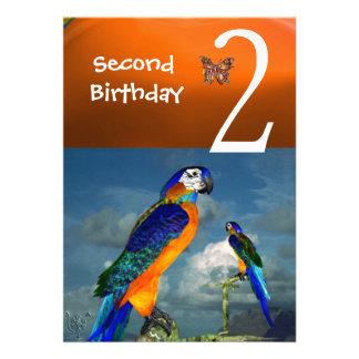 HYPER PARROTS / Second Birthday Party Orange Blue Custom Invites