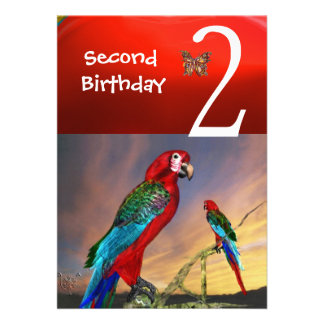 HYPER PARROTS / Second Birthday Party Red Ruby Announcement
