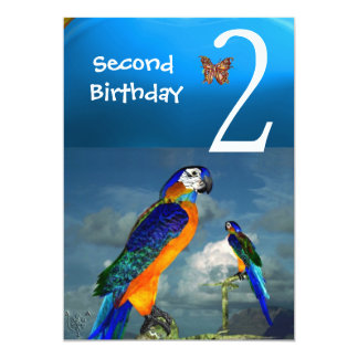 HYPER PARROTS / Second Birthday Party Turquase 5x7 Paper Invitation Card
