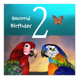 HYPER PARROTS /Second Birthday Party, Turquase Card