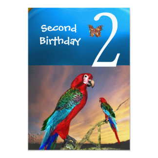 HYPER PARROTS / Second Birthday Party Turquase Announcements