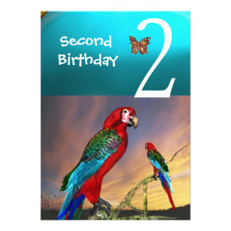 HYPER PARROTS / Second Birthday Party Turquase Personalized Invites
