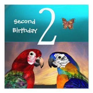 HYPER PARROTS /Second Birthday Party, Turquase Invitation